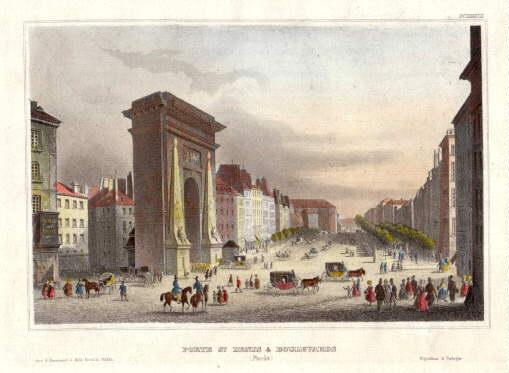 Porte St.Denis & Boulevards (Paris). Kolorierter Stahlstich: Paris -