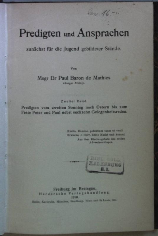 Predigten und Ansprachen zunächst für die Jugend: Mathies, Paul Baron