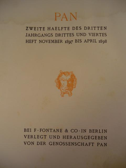 Kunstzeitschrift Pan. Zweite Hälfte des dritten Jahrgangs,: Genossenschaft Pan (Hrsg.)