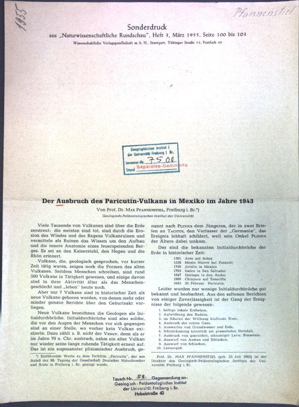 Der Ausbruch des Paricutin-Vulkans in Mexiko im: Pfannenstiel, Max: