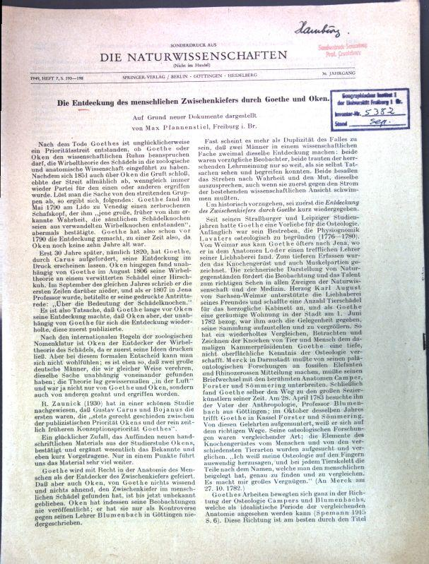 Die Entdeckung des menschlichen Zwischenkiefers durch Goethe: Pfannenstiel, Max: