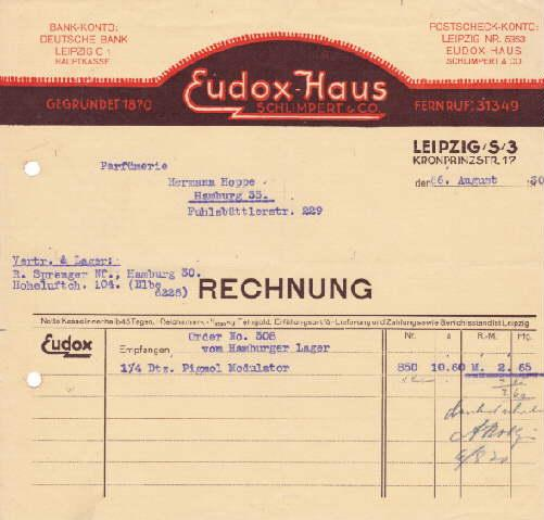 Rechnung der Firma Eudox-Haus, Schlimpert & Co.,: Leipzig -