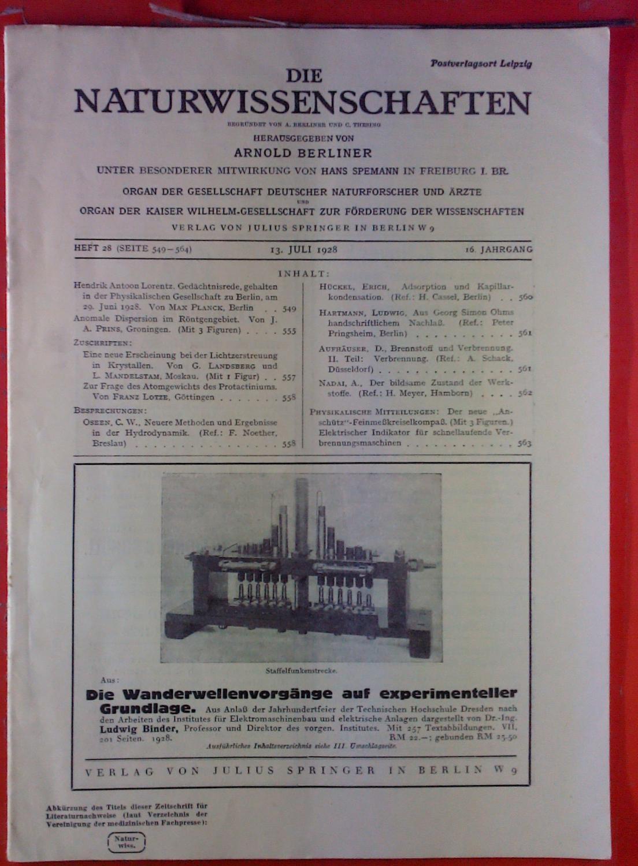 Die Naturwissenschaften. HEFT 28 - 16. Jahrgang: Hrsg. Arnold Berliner