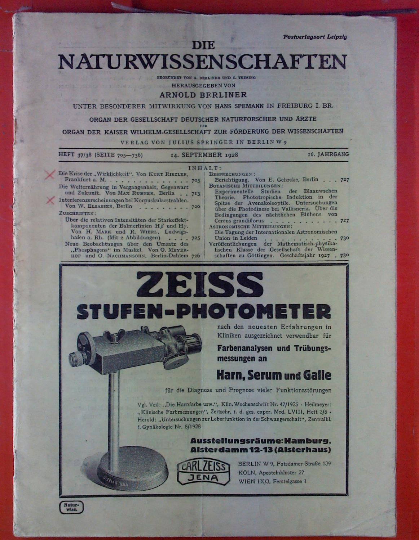 Die Naturwissenschaften. HEFT 37/38 - 16. Jahrgang: Hrsg. Arnold Berliner