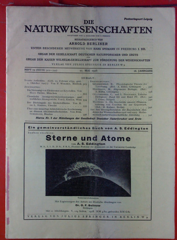 Die Naturwissenschaften. HEFT 19 - 16. Jahrgang: Hrsg. Arnold Berliner