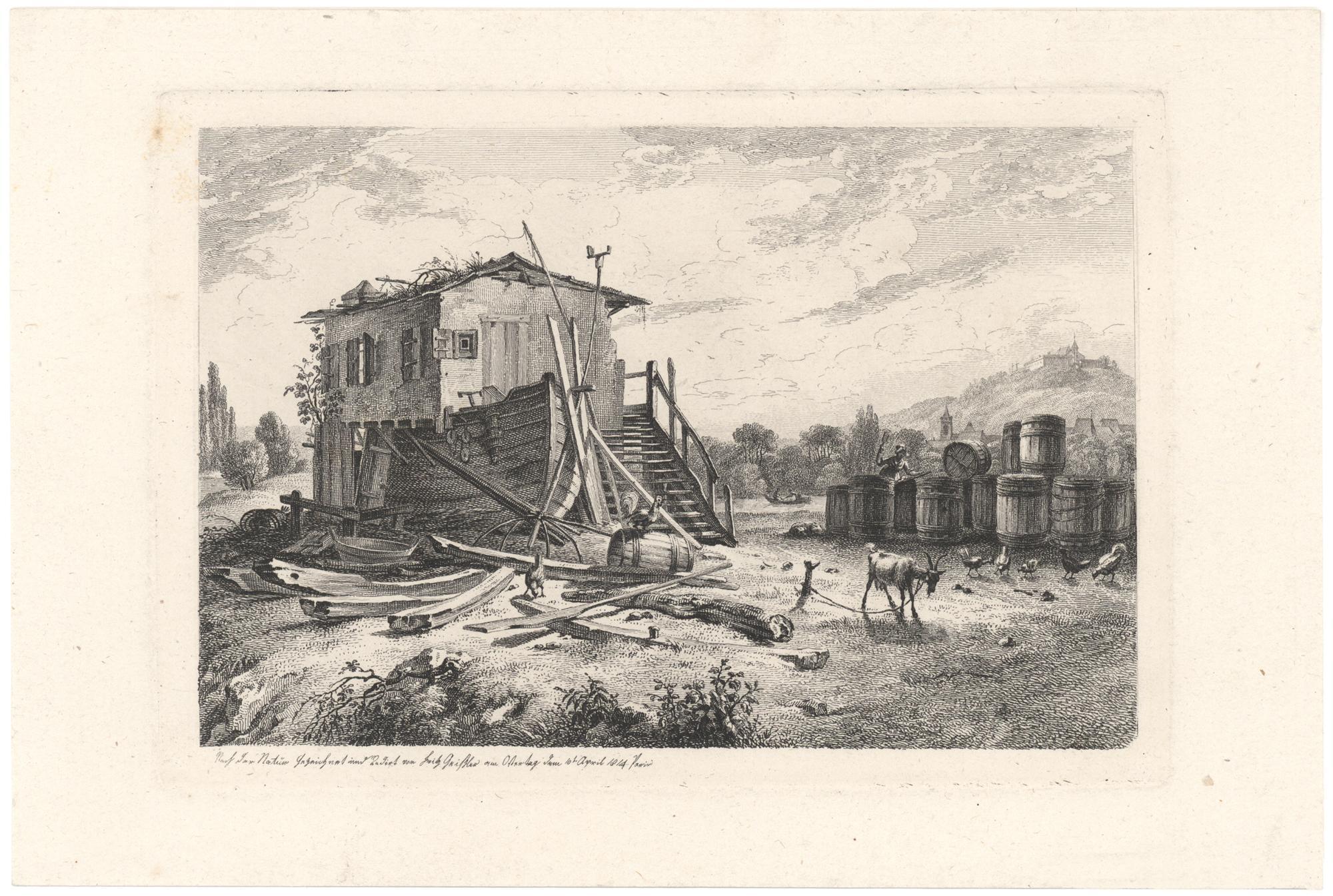 Das Haus des Fährmanns am Ostermorgen.: Geissler, Johann Martin