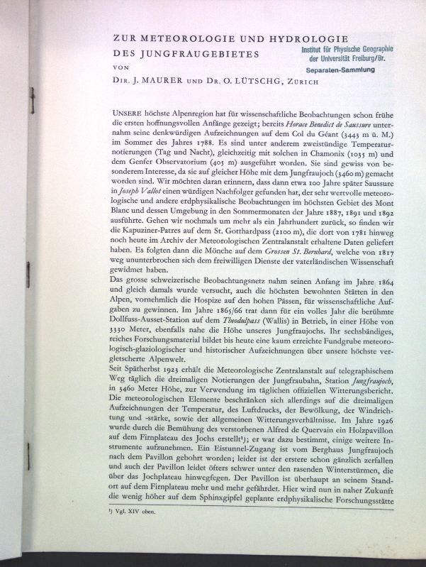 Zur Meteorologie und Hydrologie des Jungfraugebietes;: Maurer, J. und