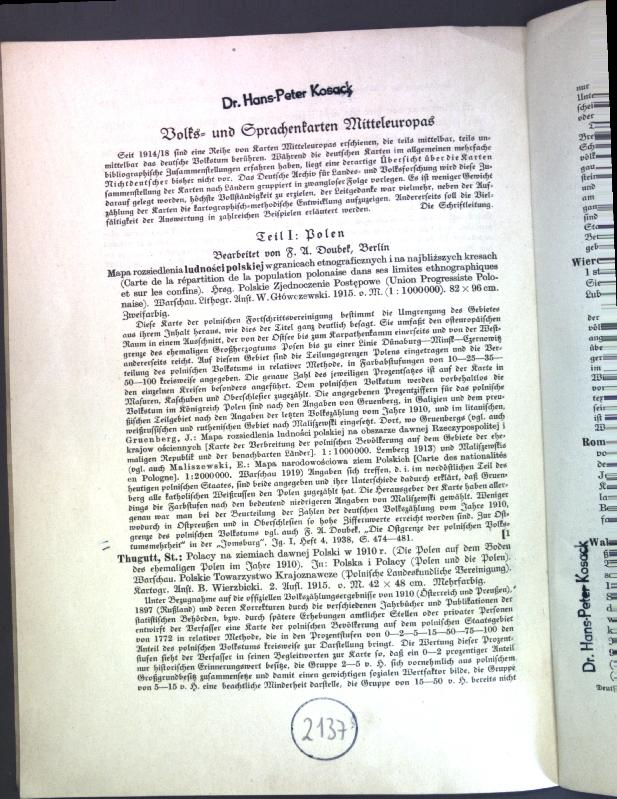 Volks- und Sprachenkarten Mitteleuropas (Polen, Littauen);: Doubek, F. A.