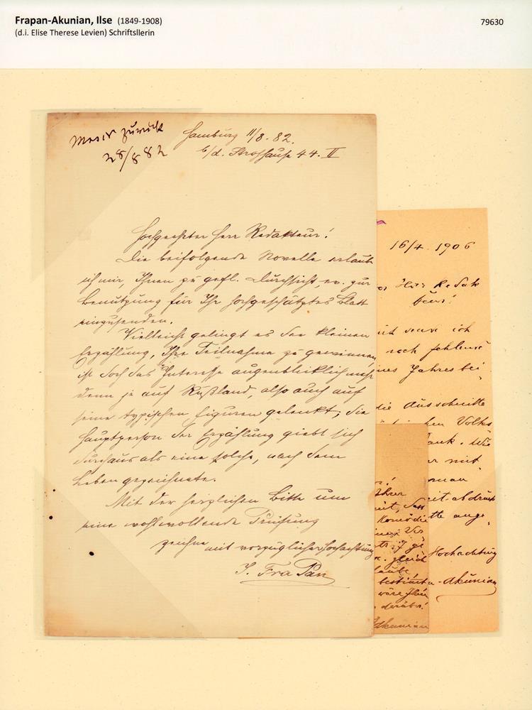 "Eigenhändiger Brief mit Unterschrift ""I. Fra Pan"".: Frapan-Akunian, Ilse (1849-1908),"