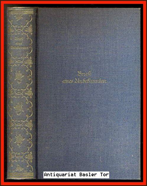 Briefe eines Unbekannten.: Villers, Alexander von: