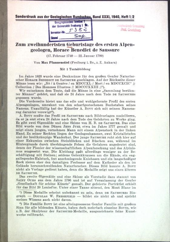 Zum zweihundertsten Geburtstage des ersten Alpengeologen, Horace: Pfannenstiel, Max: