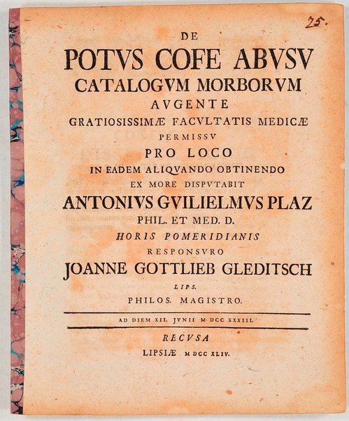 De Potus Cofe Abusu .: Plaz, Anton Wilhelm: