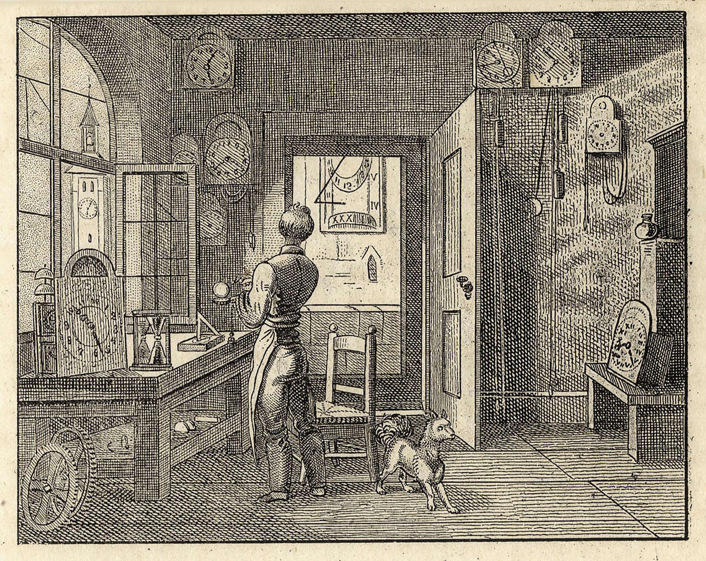 Pendeluhr, Uhrmacher in seiner Werkstatt.: UHRMACHER: