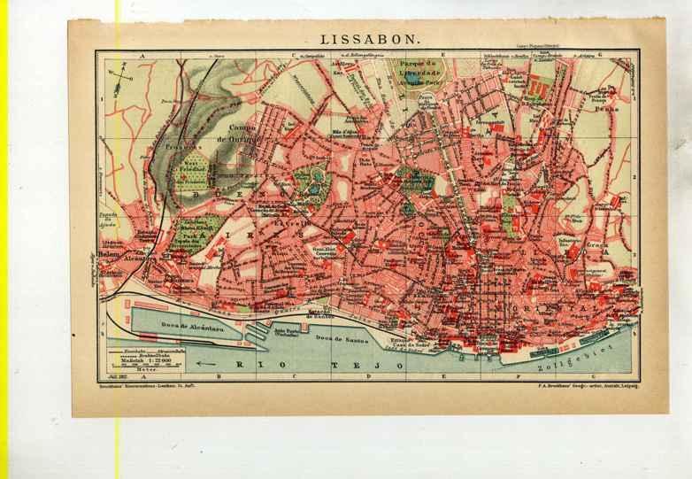 Lissabon. 1 alter Orig.- Stadtplan: Portugal