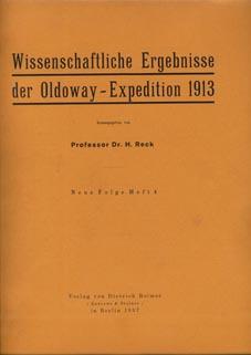 Wissenschaftliche Ergebnisse der Oldoway-Expedition 1913. Hrsg. von: Reck, Hans: