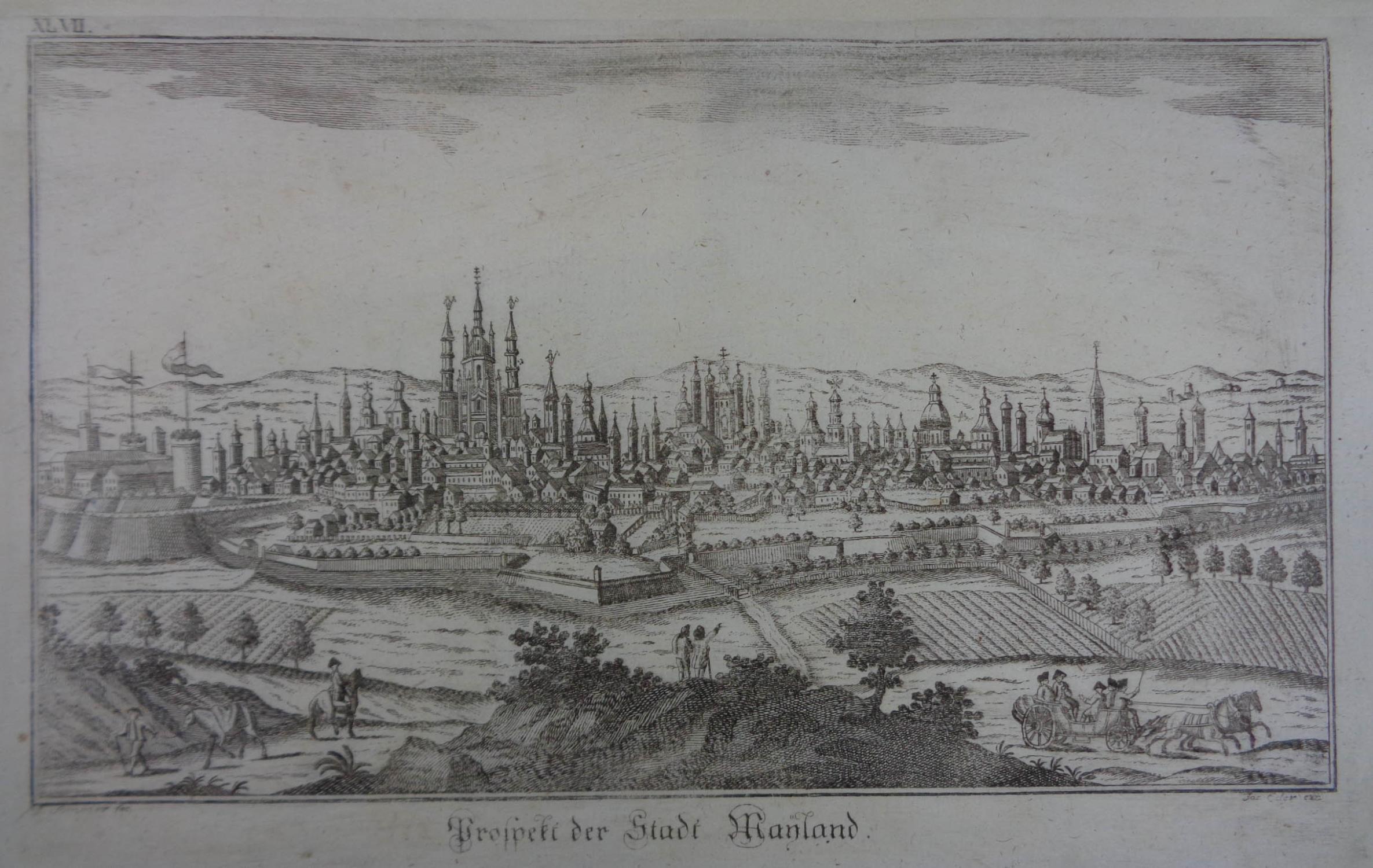 Prospekt der Stadt Mayland. Kupferstich v. A.: Mailand (Milano)