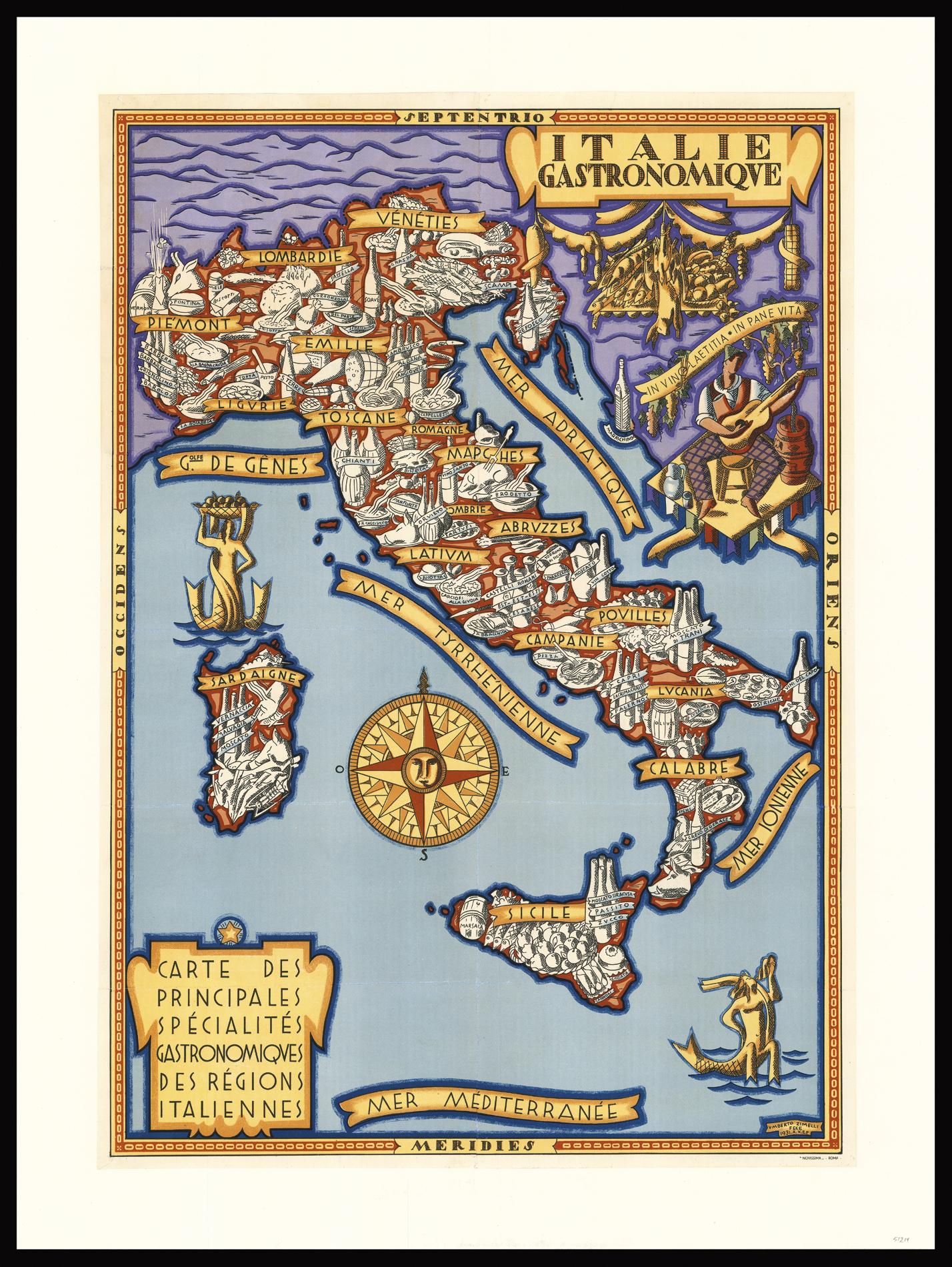 Italie Gastronomique Carte Des Principales Specialites Gastronomiques Des Regions Italiennes By Zimelli Umberto 1931 Map Daniel Crouch Rare Books Llp