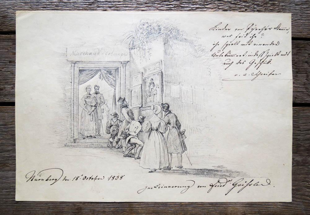 Eigenhändiges Albumblatt mit Bleistift-Zeichnung und Widmung mit: Kunsthandel, Graphik-Handel -