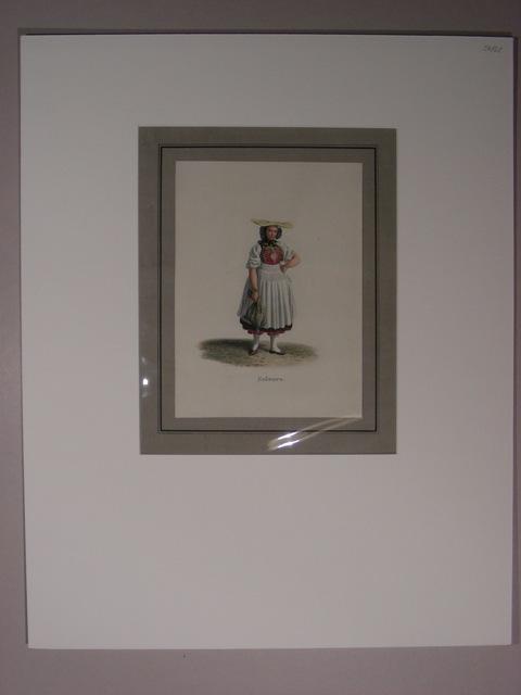 """Soleure(""""). Junge Bäuerin in Tracht mit gelber: Lory, Gabriel II"""