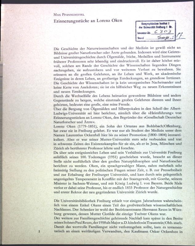 Erinnerungsstücke an Lorenz Oken;: Pfannenstiel, Max:
