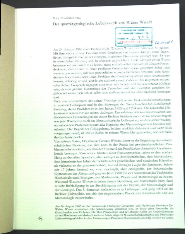 Das quartärgeologische Lebenswerk von Walter Wundt;: Pfannenstiel, Max: