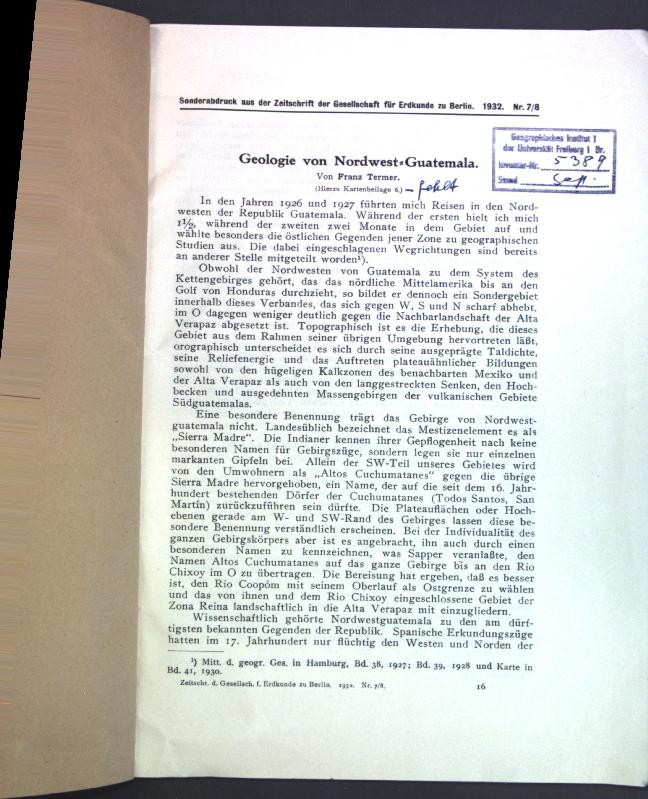 Geologie von Nordwest-Guatemala;: Termer, Franz:
