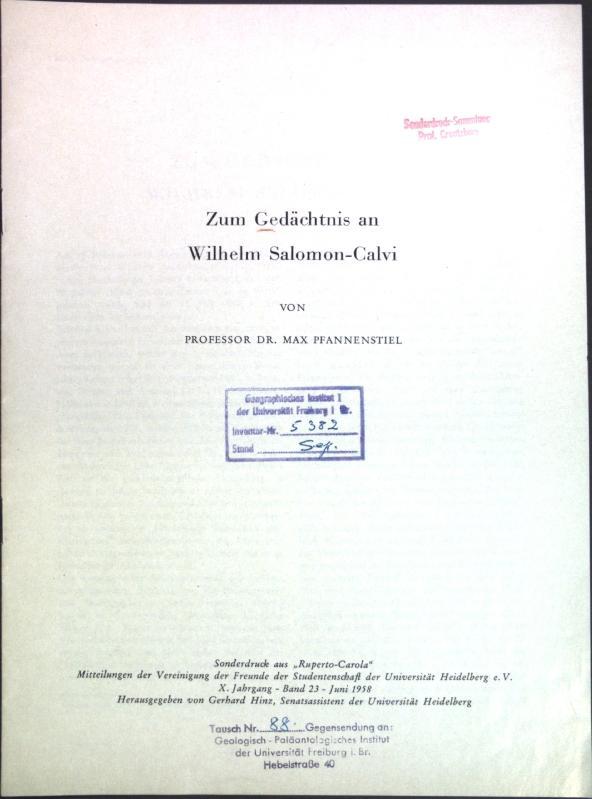 Zum Gedächtnis an Wilhelm Salomon-Calvi;: Pfannenstiel, Max: