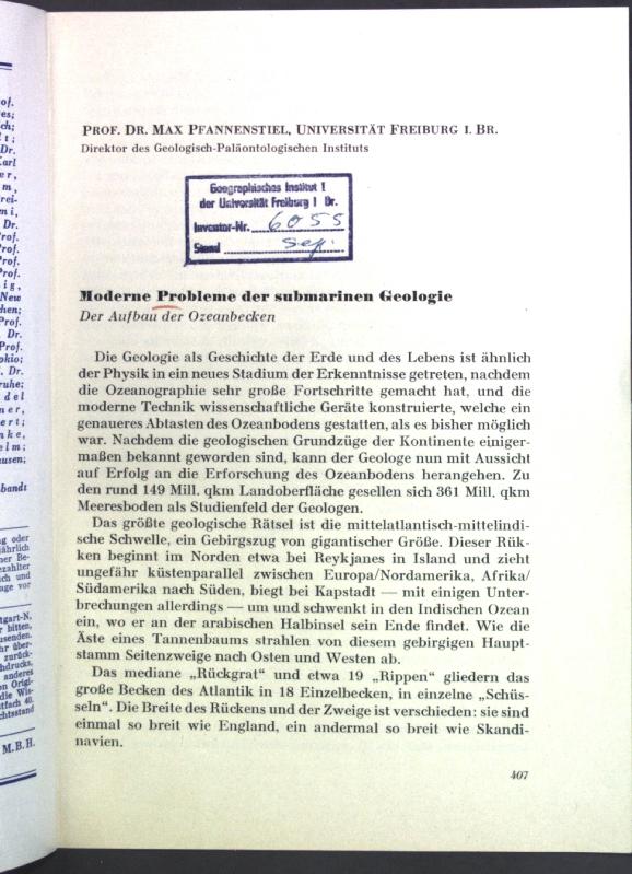 Moderne Probleme der submarinen Geologie;: Pfannenstiel, Max: