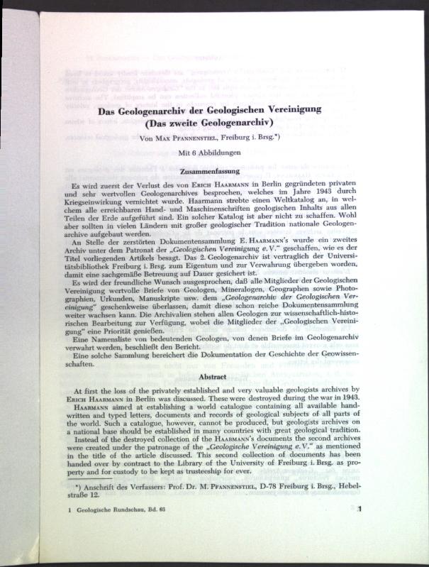 Das Geologenarchiv der Geologischen Vereinigung (Das zweite: Pfannenstiel, Max: