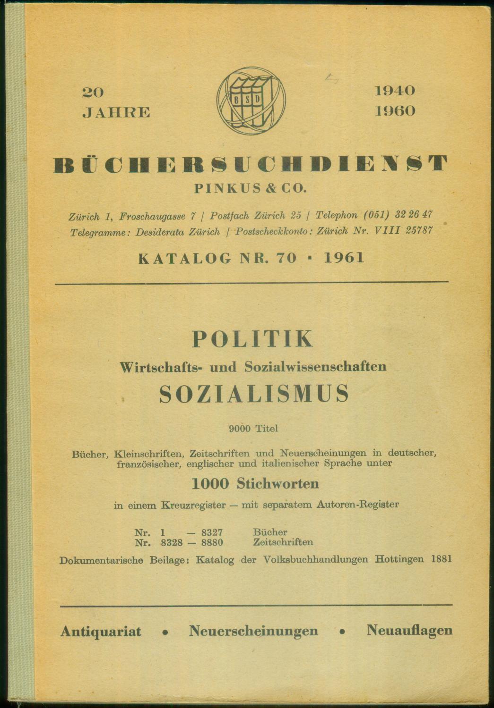 Politik - Wirtschafts- und Sozialwissenschaften - Sozialismus.: BÜCHERSUCHDIENST PINKUS &