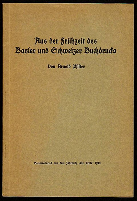 Aus der Frühzeit des Basler und Schweizer: Pfister, Arnold