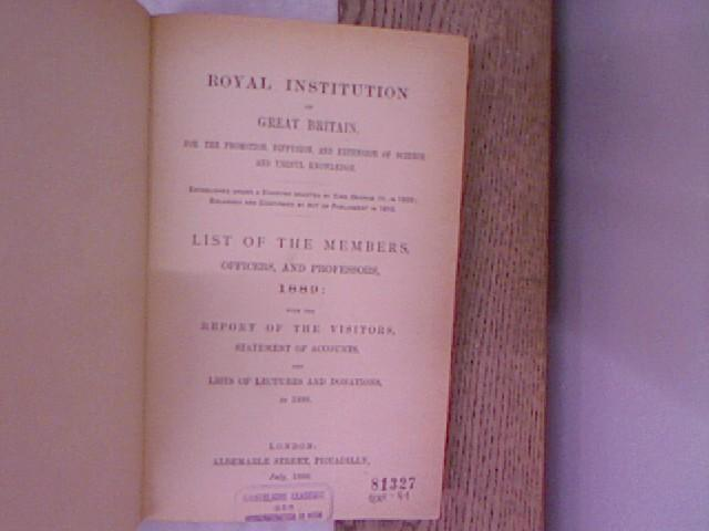 Royal Institution of Great Britain, for the: Royal Institution of