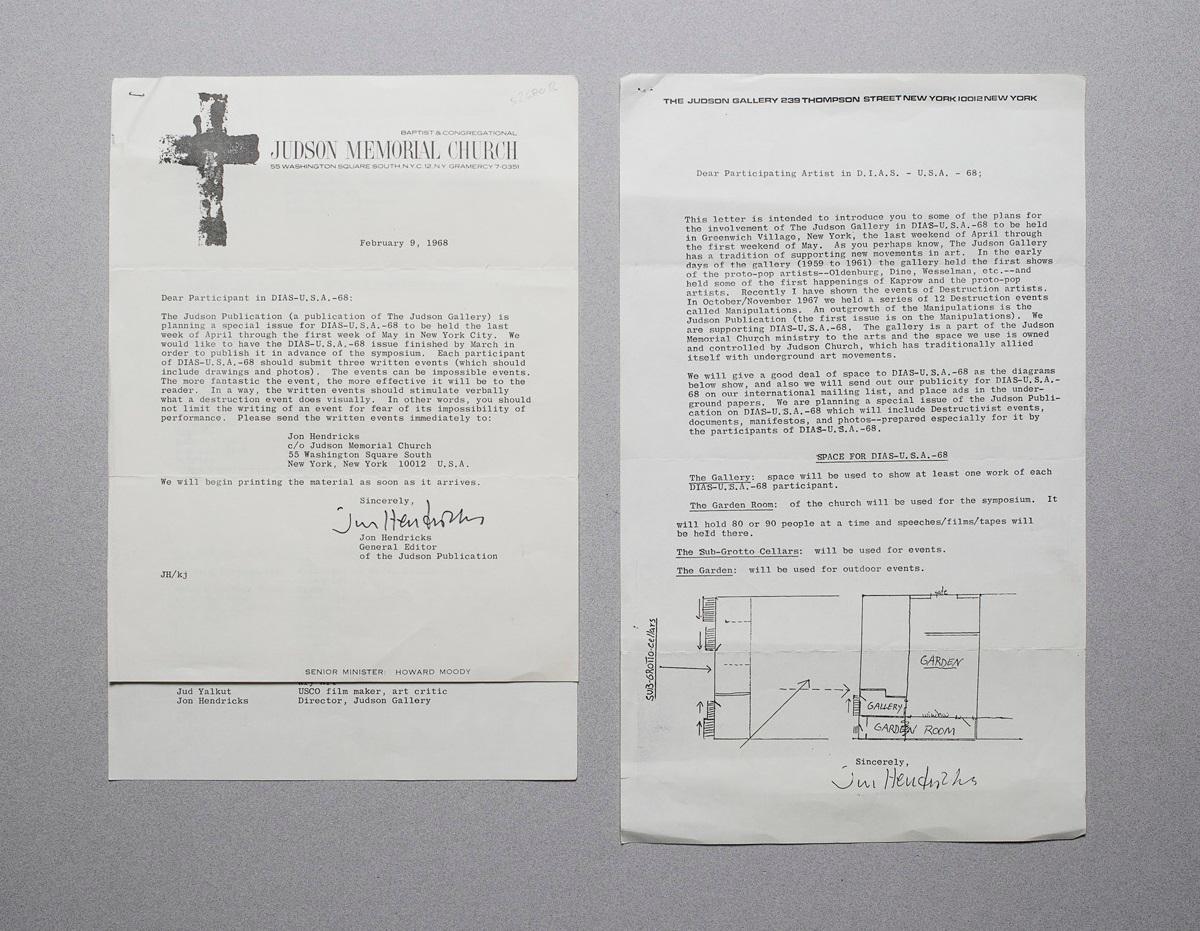 """3seitige Einladung der """"Judson Memorial Church"""" an: Hendricks, Jon:"""