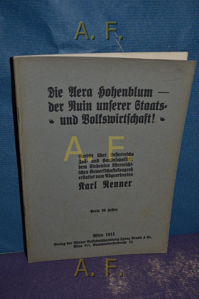 Die Vera Hohenblum - der Ruin unserer: Renner, Karl: