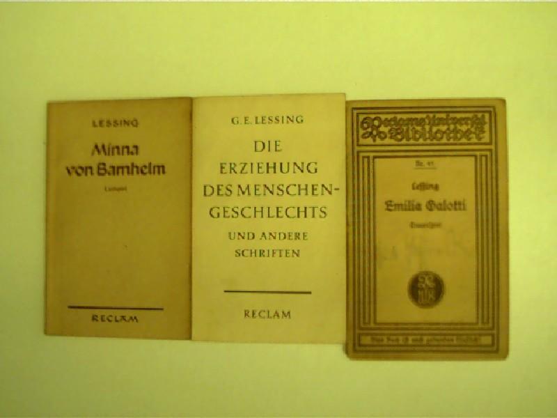 3x Reclam-Ausgaben von Gotthold Ephraim Lessing,: Lessing, Gotthold Ephraim: