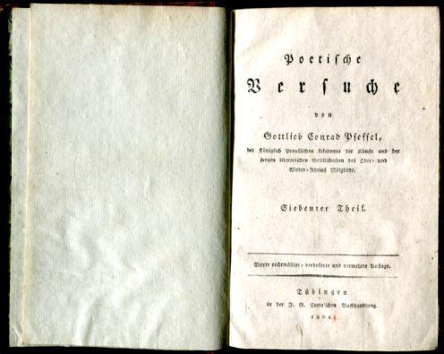 Poetische Versuche, siebenter und achter Theil: Pfeffel, Gottlieb Conrad