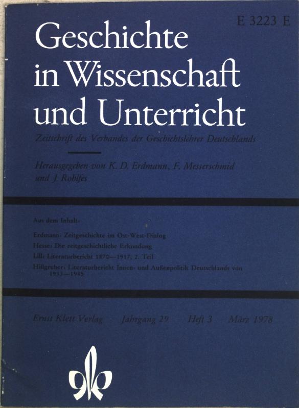 Zeitgeschichte im Ost-West-Dialog; in: Jg. 29, Heft: Erdmann, Karl Dietrich: