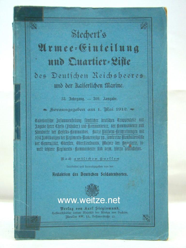Stechert's Armee-Einteilung - und Quartier - Liste: Deutscher Soldatenhort (Herausg.),: