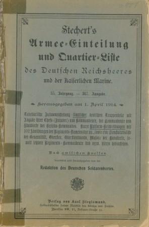 Stechert's Armee-Einteilung- und Quartier-Liste des Deutschen Reichsheeres: Deutscher Soldatenhort (Herausgeber),: