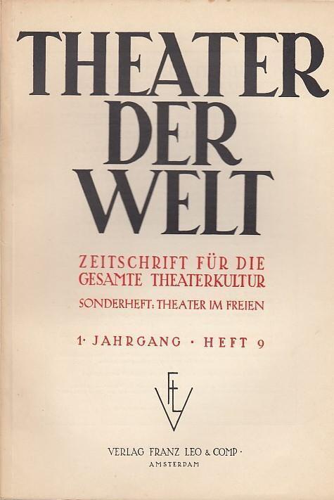 Theater der Welt. 1. Jahrgang, Heft 9,: Theater der Welt.