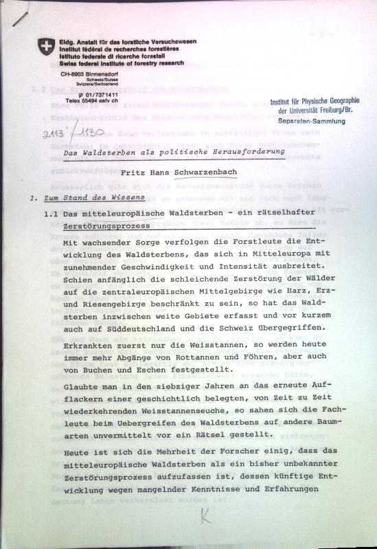 Das Waldsterben als politische Herausforderung;: Schwarzenbach, Fritz Hans: