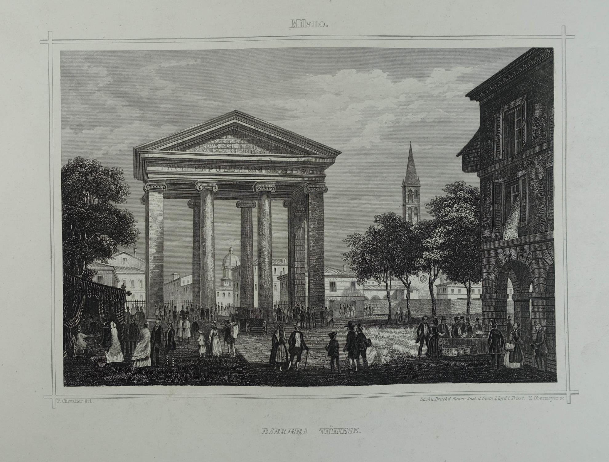 Barriera Ticinese. Stahlstich v. E. Obermeyer nach: Mailand (Milano)