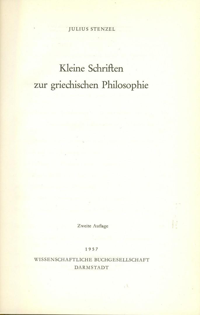 Kleine Schriften zur griechischen Philosophie. 2. (unveränderte): Stenzel, Julius:
