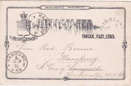 Heligoland. Foreign-Post-Card. Angestempelt Helgoland 12.09.1881, 2 Ankunftsstempel: Helgoland -