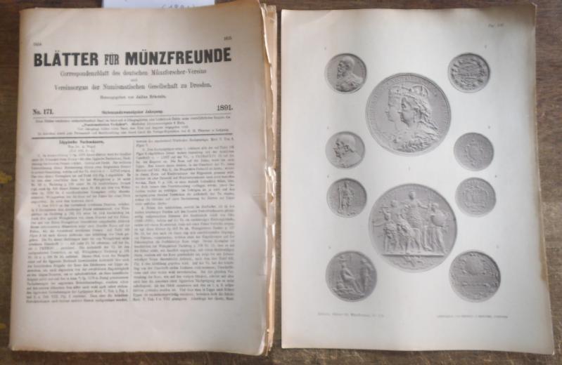 Blätter für Münzfreunde. Siebenundzwanzigster ( 27.) Jahrgang: Blätter für Münzfreunde.