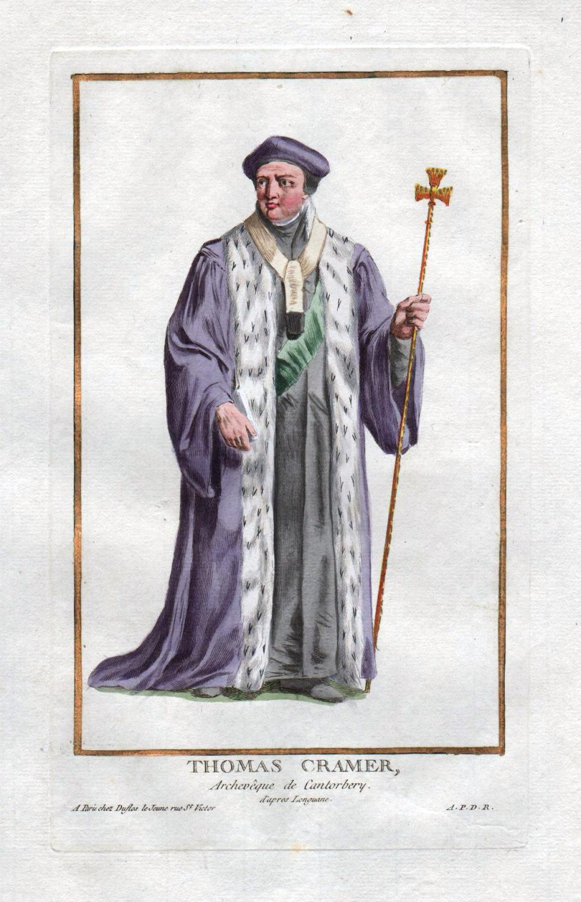 "Thomas Cramer"" - Thomas Cranmer Archbishop Canterbury: Duflos le Jeune,"