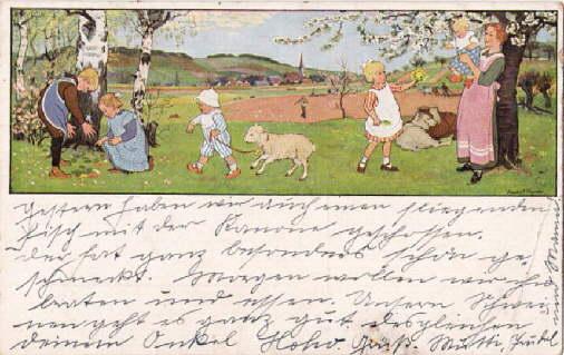 Frühlingslust. Farbige Postkarte nach einem Aquarell von: Caspari, Gertrud -
