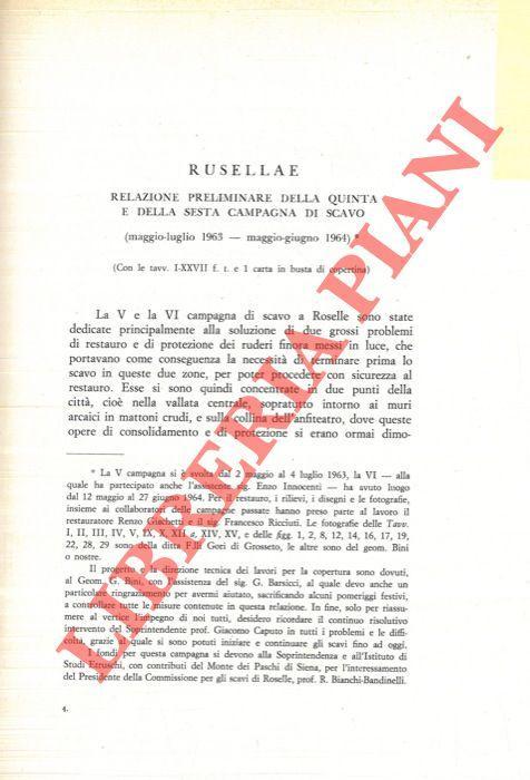 Rusellae: relazione preliminare della quinta e della: LAVIOSA Clelia -