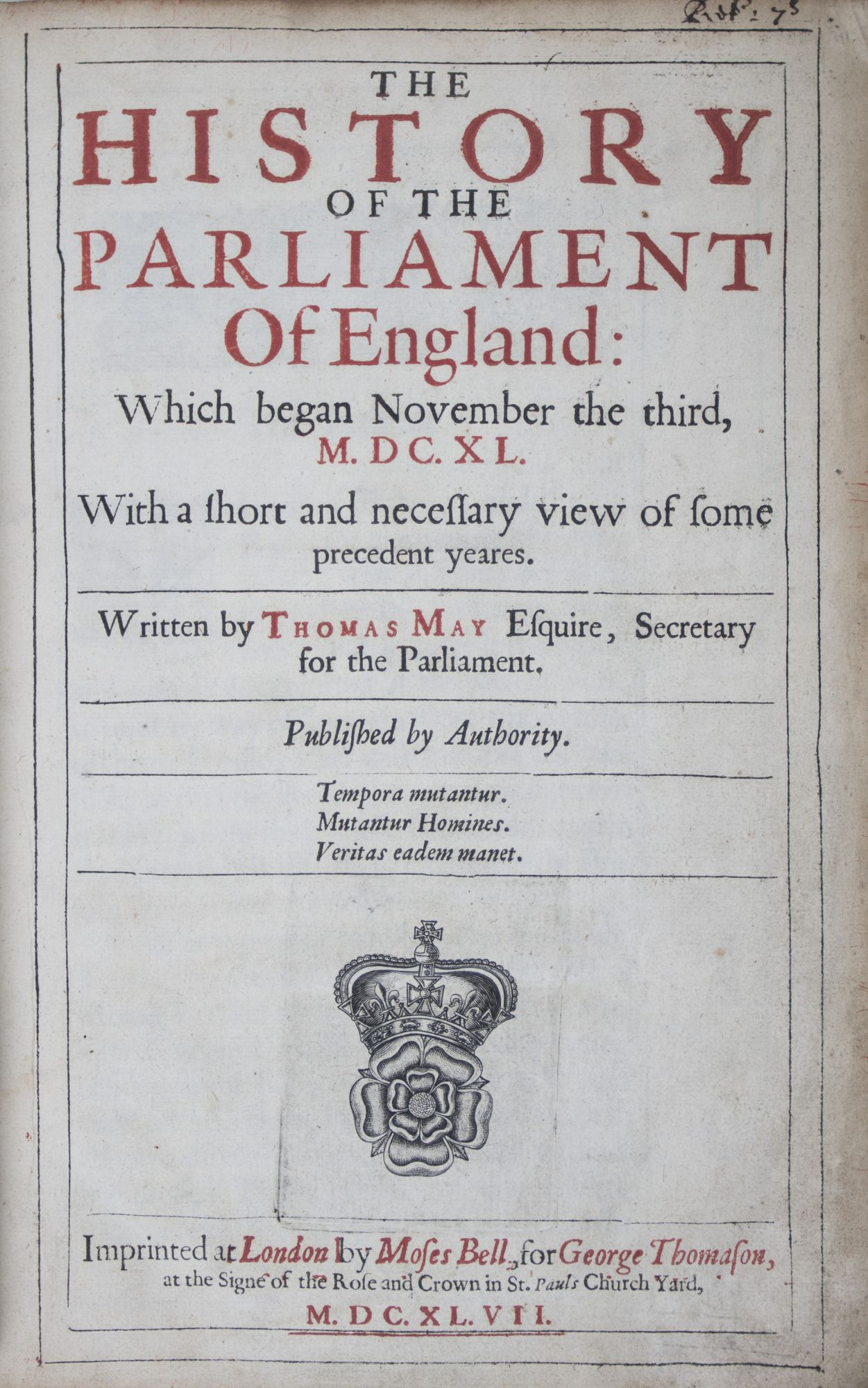The History of the Parliament of England: May, Thomas