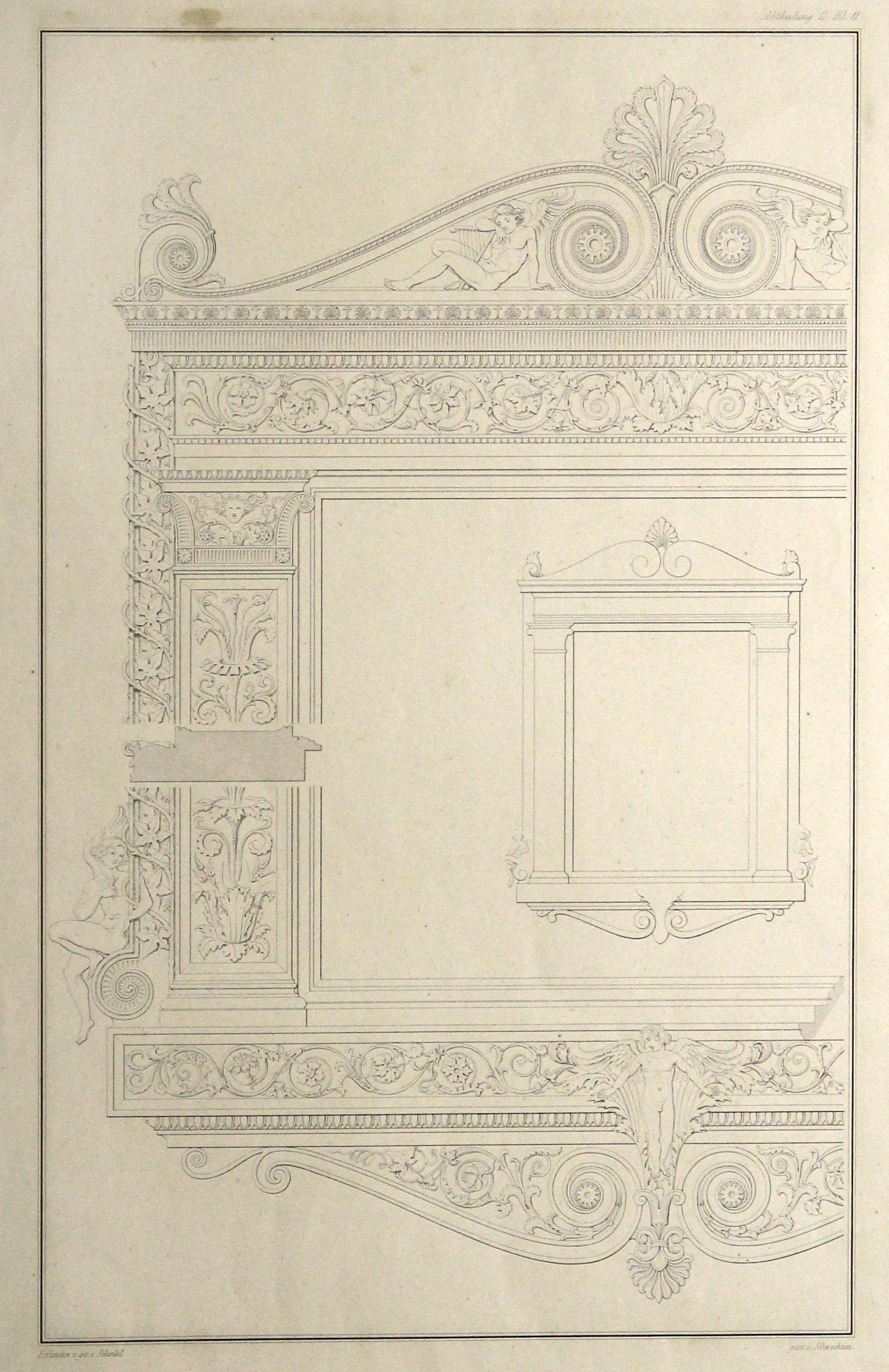 """Innenansicht, """"Fenster- oder Rahmenentwurf."""".: ARCHITEKTUR: INNENARCHITEKTUR:"""